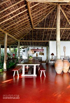 Countryside Bungalow with Large Windows Modern Tropical House, Tropical Houses, A Frame House Plans, House Floor Plans, Kerala Traditional House, Bamboo House Design, African House, Jungle House, Living Room Decor Cozy
