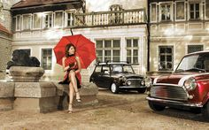 Retro girl with vintage Mini Coopers wallpaper