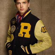 Yo check out the homie Justin Bieber riding around on his Ducati bike rocking that Rugby Ralph Lauren Wool Varsity Jacket. Looks like his stylist scored him a Letterman Jacket Outfit, Varsity Letterman Jackets, Football Jackets, Nantucket Red, Anti Fashion, Justin Bieber, Rugby, Men Casual, Casual Styles