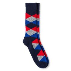 Merona NEW Mens Dress Crew Socks 6 12 Red Velvet Argyle Diamond blue #Merona #Dress