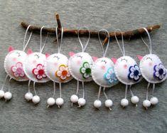 Vilt ornamenten schattige grappige vogels bloemen dieren home decor - wit rood roze geel groen blauw paars - groothandel vogel ornament - set van 7