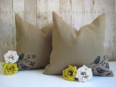 Set of 18 x 18 Burlap Pillows with Birds on a by HomesteadBurlaps, $45.00