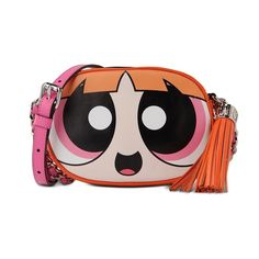 Moschino Powerpuff Girl Womens Adjustable Shoulder Small Leather Bag Orange
