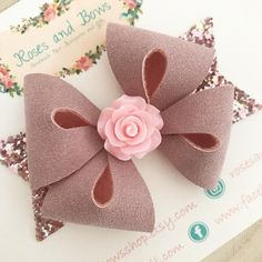 Pink Rose Hair Bow Pink Suede Bow Baby Headband