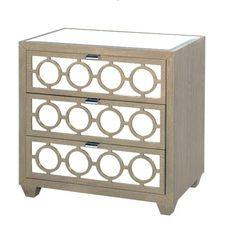 30W 3-drawer+nightstand+in+limed+oak+veneer+with+mirrored+drawers,+beveled+mirror+top+and+nickel+pulls.