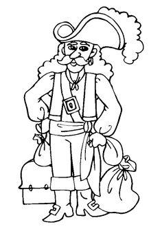 Image d'un pirate avec des sacs et un coffre de trésor, à colorier.
