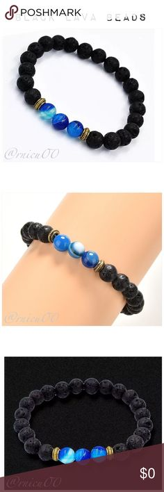 """Natural Black Lava Stone Blue Crystal Bracelet! Natural Black Lava Stone, 3 Blue Crystal Beads & 2 Bronze Charm Spacer Beads Bracelet!   - Natural Black Lava Stone, Blue Azure Crystal Beads; 8mm stones - Nickel & Lead Free Gold Plating - Lava Rock Beads are perfect for Essential Oils- add a few drops, let absorb, wipe away excess; Enjoy the scent, beauty & benefits while being trendy! ➖Prices Firm, Bundle for 20% Discount ➖""""Trade"""" & Lowball Offers will be ignored ➖Sales are Final, Please…"""