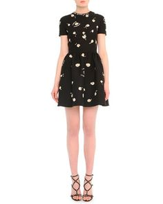 Daisy-Embroidered Fit-And-Flare Dress by Valentino at Bergdorf Goodman.