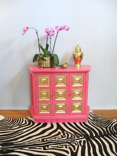 Vintage Hollywood Regency Hot Pink Gold Leaf Credenza by Fabulous Mess eclectic buffets and sideboards