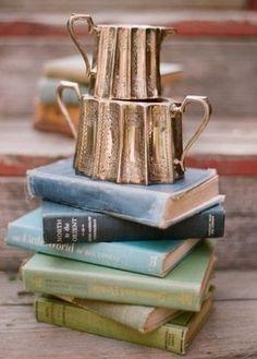 vintage , books, centerpieces, chic, decor, decorations, details, green, reception, shabby, blue, powder, romance, pastel