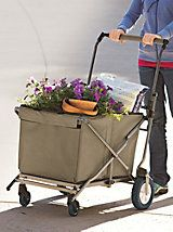 Folding Cart - Super portable, super foldable, super storable--this cart does the heavy lifting. Folding Cart, Folding Wagon, Garden Cart, Garden Shop, Bushcraft, Little Red Wagon, Picnic Spot, Topiary, Flower Beds