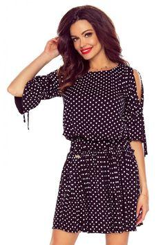 Fekete pöttyös ruha M57414 Cold Shoulder Dress, Vintage, Dresses, Style, Fashion, Vestidos, Swag, Moda, Fashion Styles