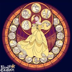 This makes a unique alternative to the Kingdom Hearts stained glass platform from the game. However, I like that one that KH used because it features both Belle and the Beast.