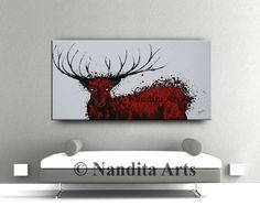 Stag Painting Stag Deer Abstract Painting par ContemporaryArtDaily