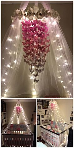 My butterfly mobile with the crib canopy and lights. Turned out exactly how I wanted it to. All diy