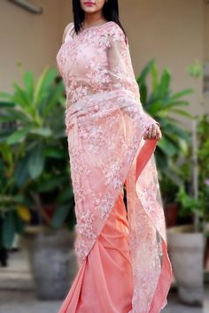Buy this Fairy Light Pink Double Shaded Sequins Saree by Colorauction  #pink #saree #indianwear #indiansaree #colorauction