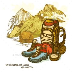 Buy Hiking Hand Drawn Poster by macrovector on GraphicRiver. Trendy hand drawn hiking poster with boots compass and backpack on mountains landscape background vector illustration. Camping Drawing, Illustration, Drawings, Graphic Design Illustration, Painting, Landscape Background, Art, How To Draw Hands, Poster