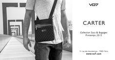 Collection sacs & bagages VO7 - VO7 Carter  sacoche noire en cuir et toile brillante matelassée - black leather quilted shine bag streetchic fashion men style original