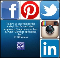 Follow us today! Facebook: https://www.facebook.com/CSIPromos?ref=hl | Twitter: https://twitter.com/CSIPromos | Instgram: https://instagram.com/csipromos/ | LinkedIn: https://www.linkedin.com/company/carolina-specialties-inc-