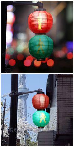 日本的红绿灯,感觉很不错哦,查了一下,日本叫提灯信号机——黄信号 きしんごう, 青信号 あおしんご う,赤信号 あかしんごう。