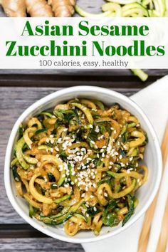 Asian Zucchini Noodles are a Whole30 and Paleo friendly way to enjoy your favorite Asian noodles without the guilt. Made with ginger, garlic, coconut aminos, and sesame seeds this noodles couldn't be more delicious. | Winter | Side Dish | Whole30 | Paleo | Zucchini | Noodles | Weight Watchers | #slenderkitchen #healthyrecipes #weightwatchers #zucchini #sidedish #whole30 #paleo