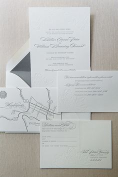 Old Edwards Inn Wedding - Letterpress Invitation Suite and Map