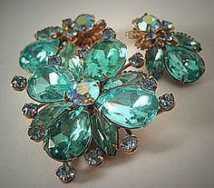 Stunning Vintage Rhinestone Pin and Earrings Set in Aquamarine signed by Cathe and attributed to DeLizza and Elster, the manufacturers of Juliana Jewelry.