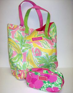 LILLY PULITZER 2 PC ESTEE LAUDER Beach Tote Bag & Cosmetic Make Up Bag   #LILLYPULITZER #TotesShoppers