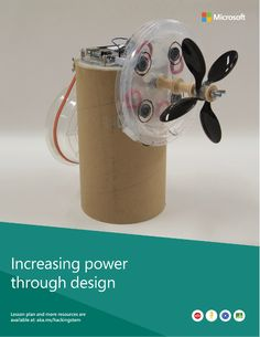 A completed windmill project built from various materials such as a cardboard tube, a lid from a coffee cup and an Arduino.