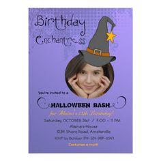 Birthday Witch Halloween Photo Invitation