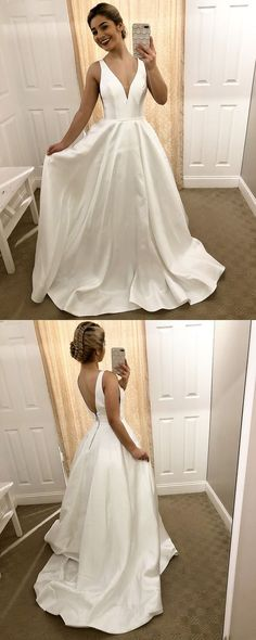 White Prom Dresses Long, A-line Prom Dresses Modest Prom Dresses Satin, Open Back Prom Dresses V-neck Open Back Prom Dresses, Prom Dresses For Teens, A Line Prom Dresses, Beautiful Prom Dresses, Formal Evening Dresses, Wedding Party Dresses, Homecoming Dresses, Graduation Dresses, Dressy Dresses