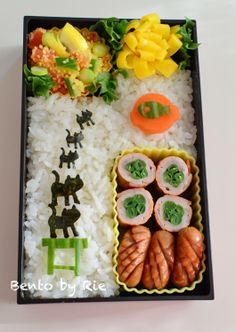 Cat Family reaching the fish! Bento by Rie