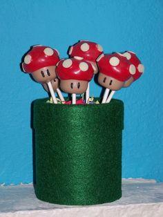 Mushroom cake pops at a Super Mario Brothers Party #supermario #partycakepops