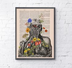 Art Print Flowery neck and head collage Printed on Vintage Dictionary Book page. Wall decor art, Anatomy decor, Flower print art BPSK101