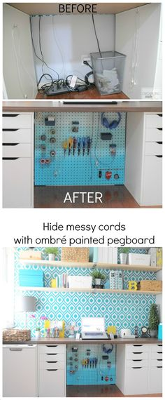 Before and After - Hide messy cords with ombré painted pegboard :: OrganizingMadeFun.com