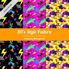 Hand-drawn set of colorful patterns with geometric shapes Premium Vector