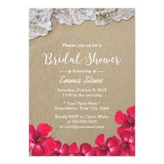 Bridal Shower Hawaiian Beach Waves Hibiscus Floral Card
