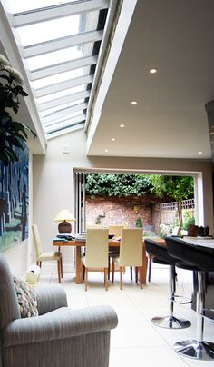 A smallish kitchen extension but lovely sense of light
