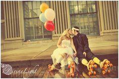 Wedding with wearing roller skates
