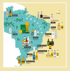 A map that shows what type of Cachaça you can drink in the World Cup 2014 cities