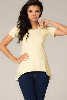 Żółta bluzka z przedłużanym tyłem