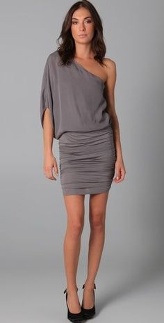 Buy Alice + Olivia Women's Gray One Shoulder Ruched Dress. Similar products also available. Dress Outfits, Cool Outfits, Ruched Dress, Silk Dress, Popular Dresses, Fashion Plates, Dress Me Up, Dress To Impress, One Shoulder