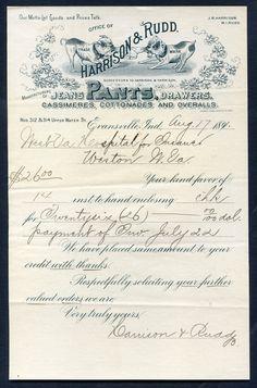 Union-Made: 1891 Harrison & Rudd Billhead