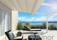 beleuchtete terrasse am abend mit pergola sunrain q von. Black Bedroom Furniture Sets. Home Design Ideas