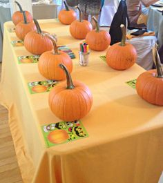 Pumpkin decorating table- the perfect Fall activity for kids!