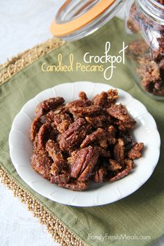 Crockpot Candied Pecans - So easy to make and  are great holiday gifts! FamilyFreshMeals.com -