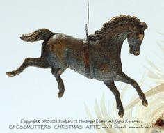 Small Dresden Running Horse,   Antique German Dresden Ornament  Origin: Germany.  Produced: around 1890-1900.  /www.christmas.li