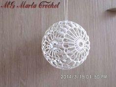 Kerstbal gehaakt Crochet Christmas Decorations, Crochet Decoration, Crochet Ornaments, Crochet Snowflakes, Crochet Leaf Patterns, Crochet Leaves, Christmas Crochet Patterns, Crochet Ball, Crochet Round