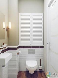 Интерьер ванной комнаты, шкафчик в ванной, лаконичная ванная