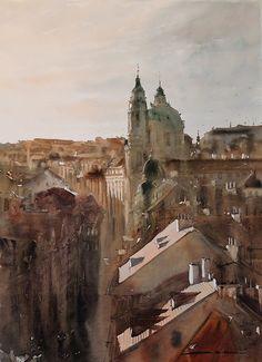 Sergiy Lysyy PRAGA Watercolor Paintings, Watercolors, Street, Buildings, Sketch, Pastel, Gallery, Inspiration, Prague